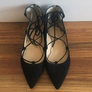 Black Suede Lace Up Flats